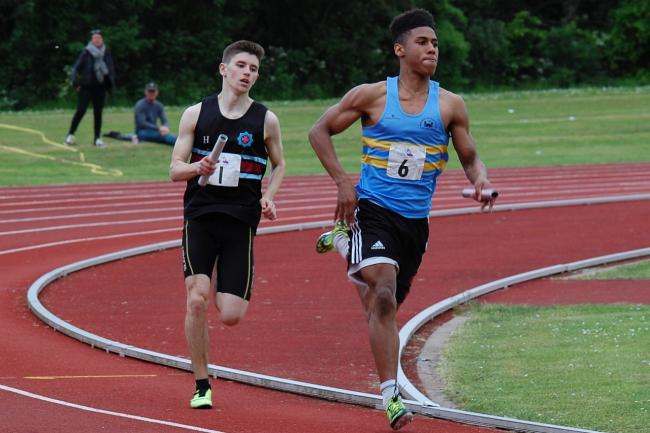 Alex Haydock-Wilson, right, won both the B string 100m and 200m in the British League Division One match.