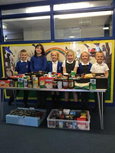 Pupils and their families donated foodstuffs to the Bracknell Foodbank
