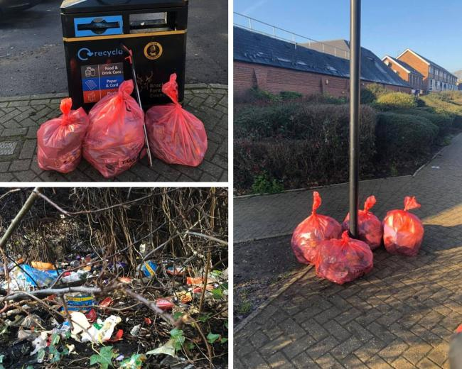 7 bags of rubbish collected from Waitrose Yorktown Road through to the Post Office shops