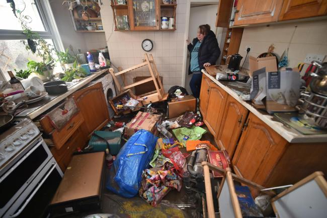 Flood-damaged house in Wales