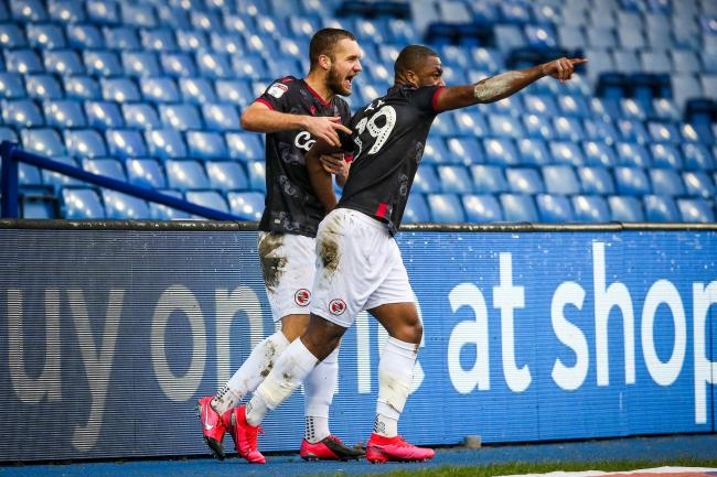 Meite and Puscas celebrate the opener at Hillsborough (Photo: Jason Dawson)