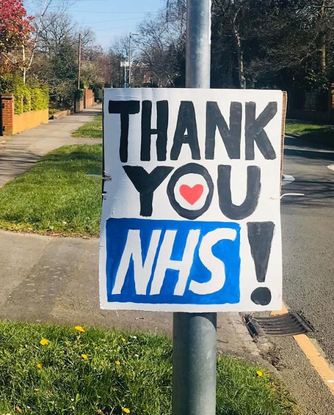 NHS thank you signs in Reading