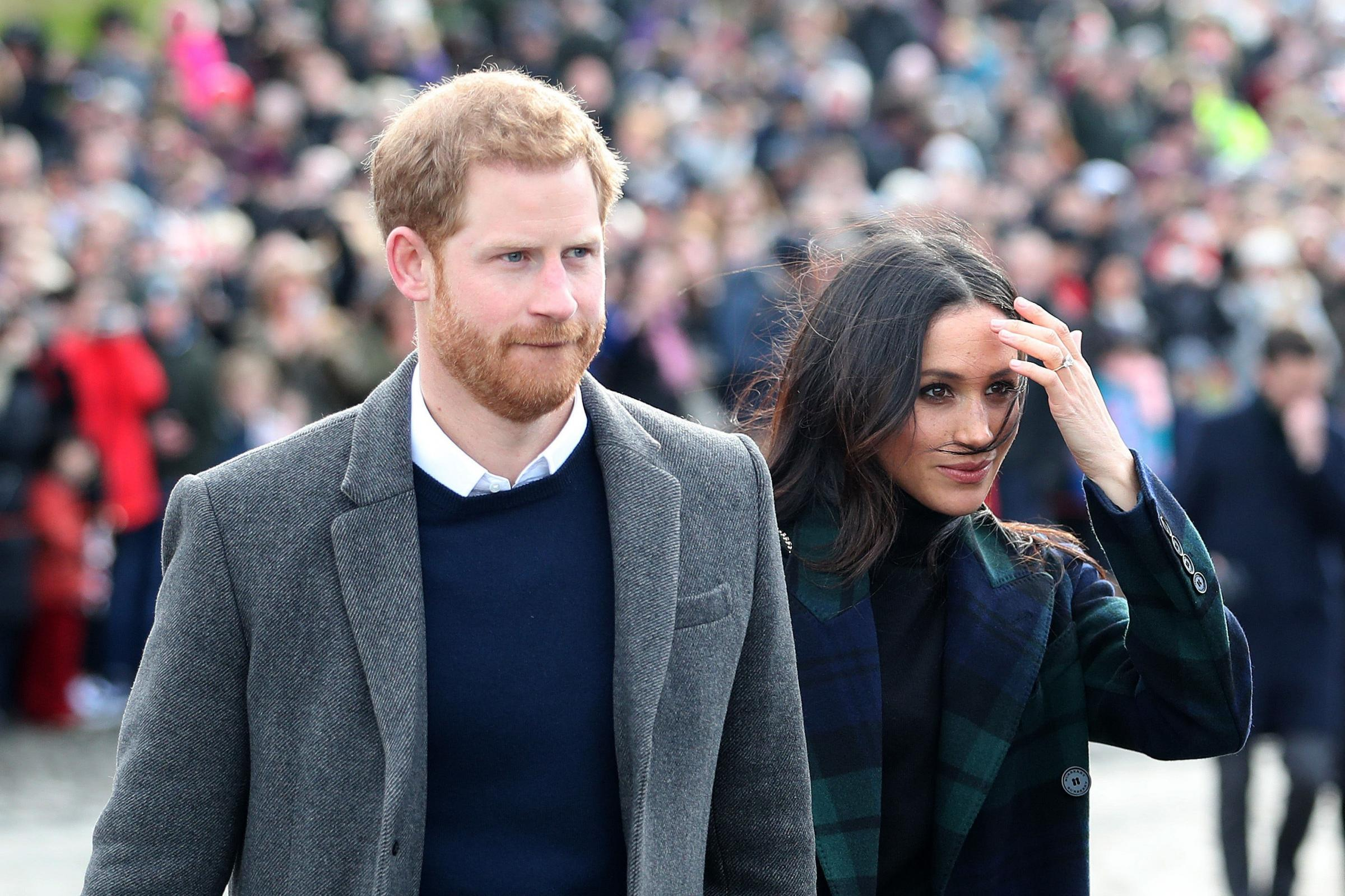 Prince Harry and Meghan Markle at Edinburgh Castle, during their visit to Scotland (Jane Barlow/PA)