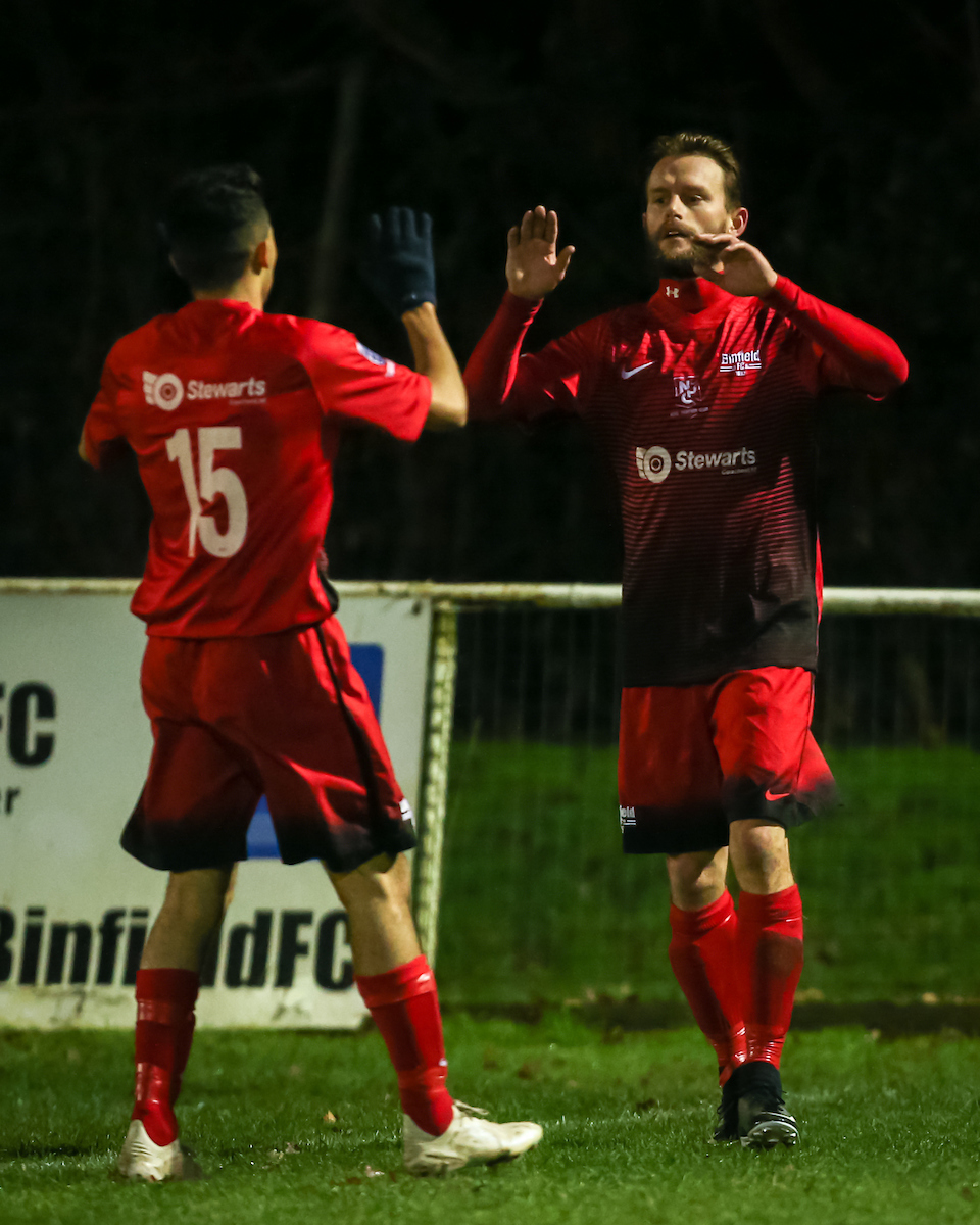 Binfield FC celebrate a goal against Woodley. All pictures: Neil Graham.