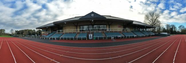 A panoramic view of the Thames Valley Athletics Centre in Eton - home to Windsor, Slough, Eton & Hounslow Athletics Club.
