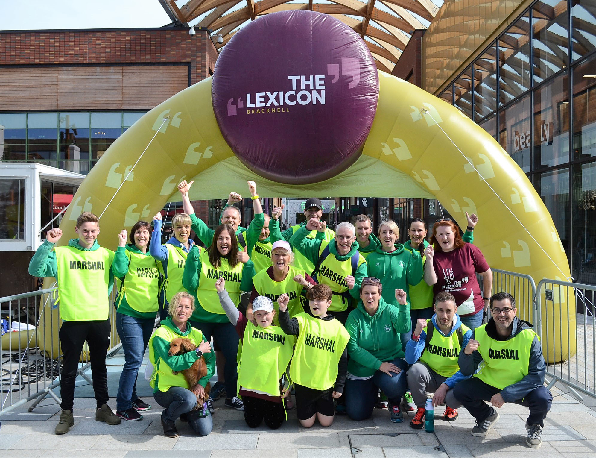 180551 Bracknell Half Marathon marshals at finish line in The Lexicon pic chris forsey 13/5/18.