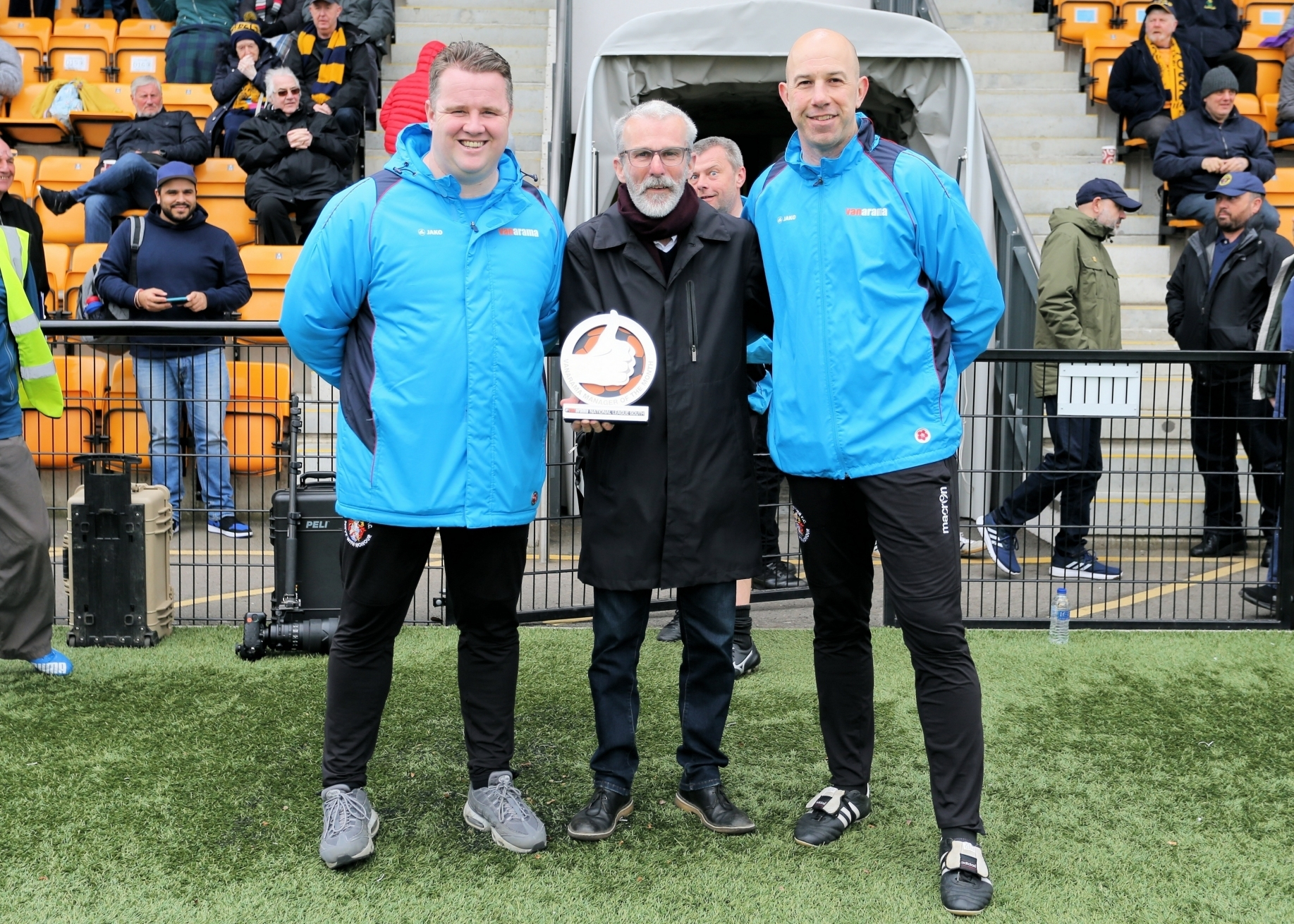 Slough Town joint-managers Neil Baker, left, and Jon Underwood, right, plus Chairman, Steve Easterbrook, centre with the National League South Manager of the Month award for March. The Rebels won three of their five league matches in March and drew the ot
