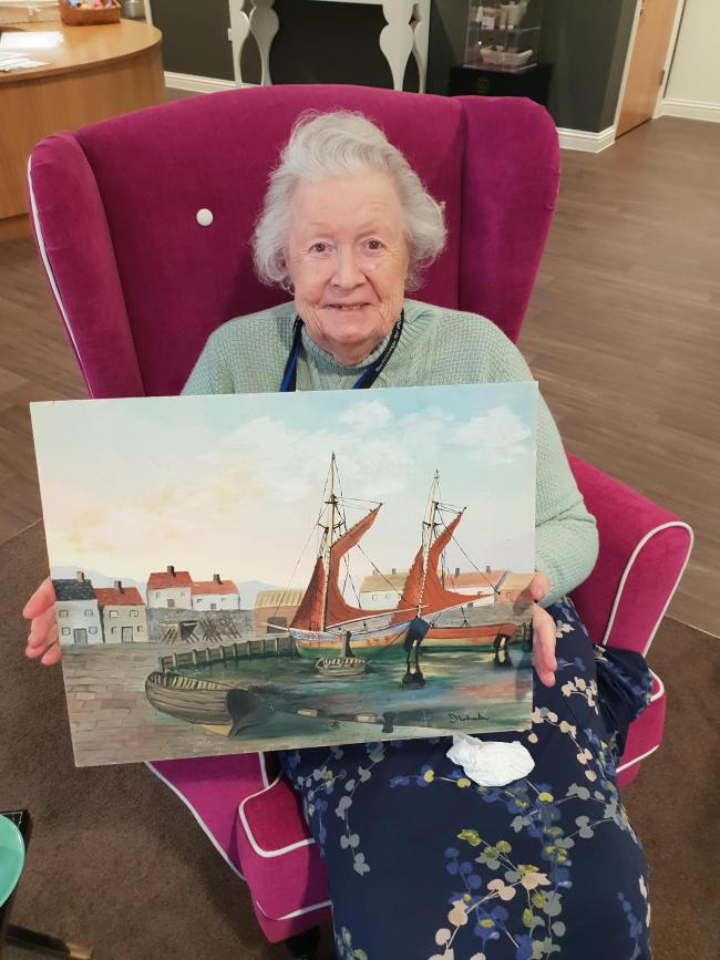 Gracewell of Ascot resident June and her painting of Cornwall