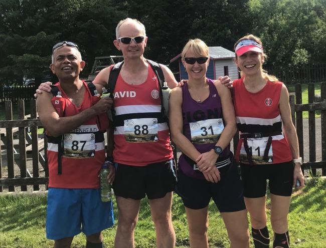 (l-r in red) Sayeed Islam, David Pearce and Margarate Maton at the Dartmoor Discovery Ultra Marathon.